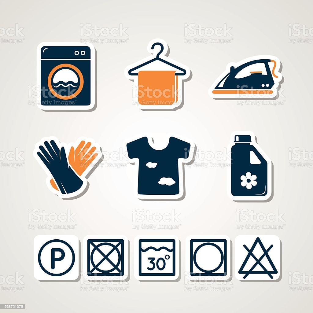 Laundry paper cut icons vector art illustration