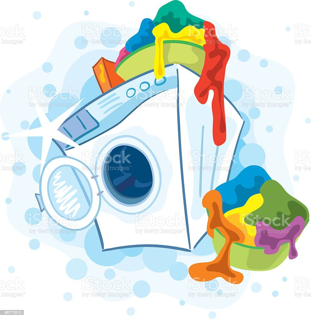 Laundry piling atop a washing machine on washing day vector art illustration