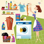 Laundry Room. Housewife hangs clean clothes after washing on line.