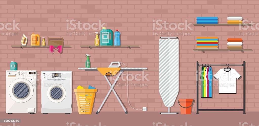 Laundry room with washing machine vector art illustration
