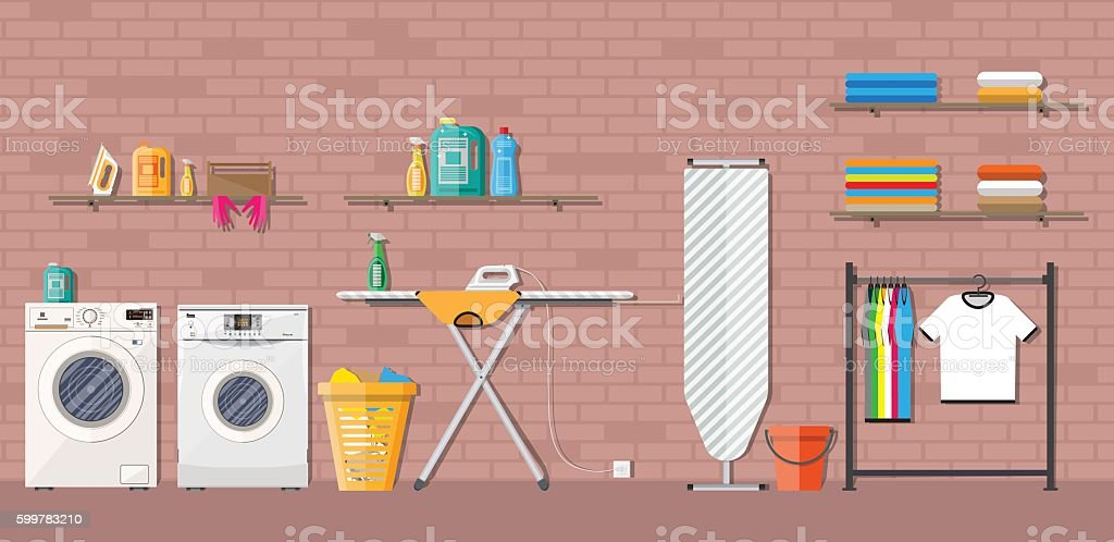 Laundry room with washing machine vector art illustration