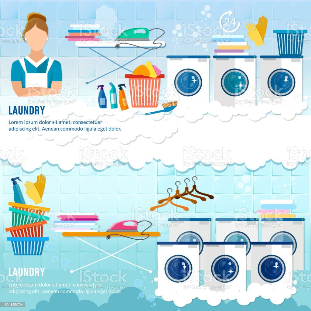 Laundry service banner dry cleaning clothes vector art illustration