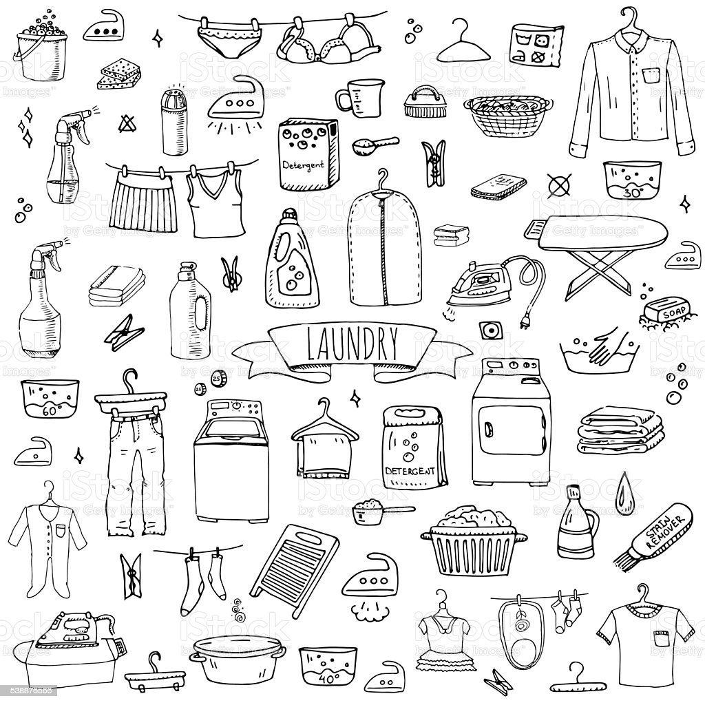 Laundry set vector art illustration