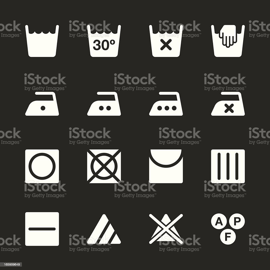 Laundry Sign Icons Set 1 - White Series | EPS10 royalty-free stock vector art