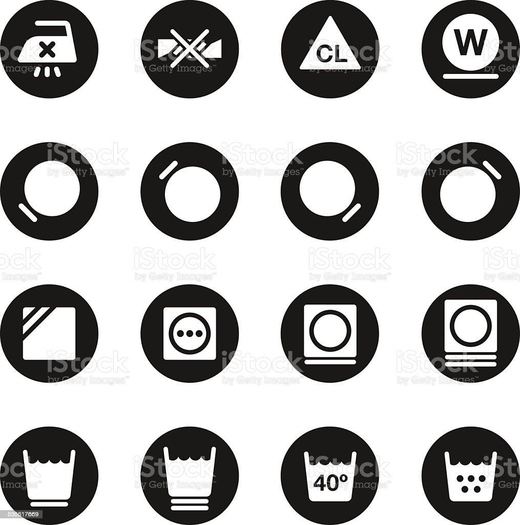 Laundry Sign Icons Set 2 - Black Circle Series vector art illustration