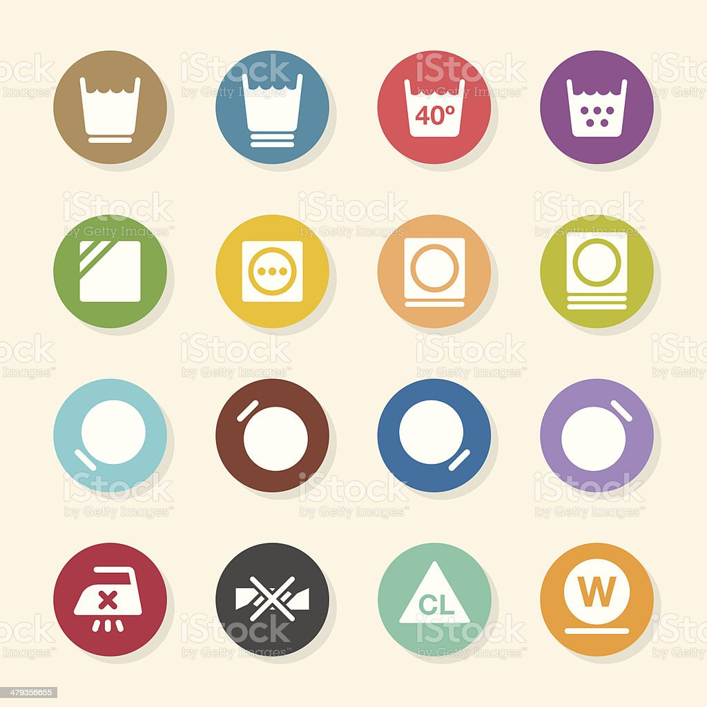 Laundry Sign Icons Set 2 - Color Circle Series vector art illustration