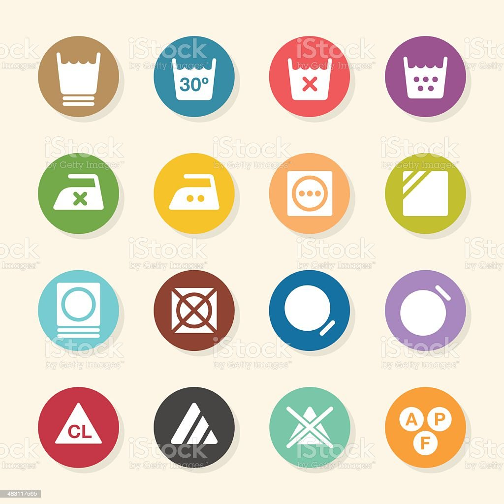 Laundry Sign Icons Set 3 - Color Circle Series vector art illustration