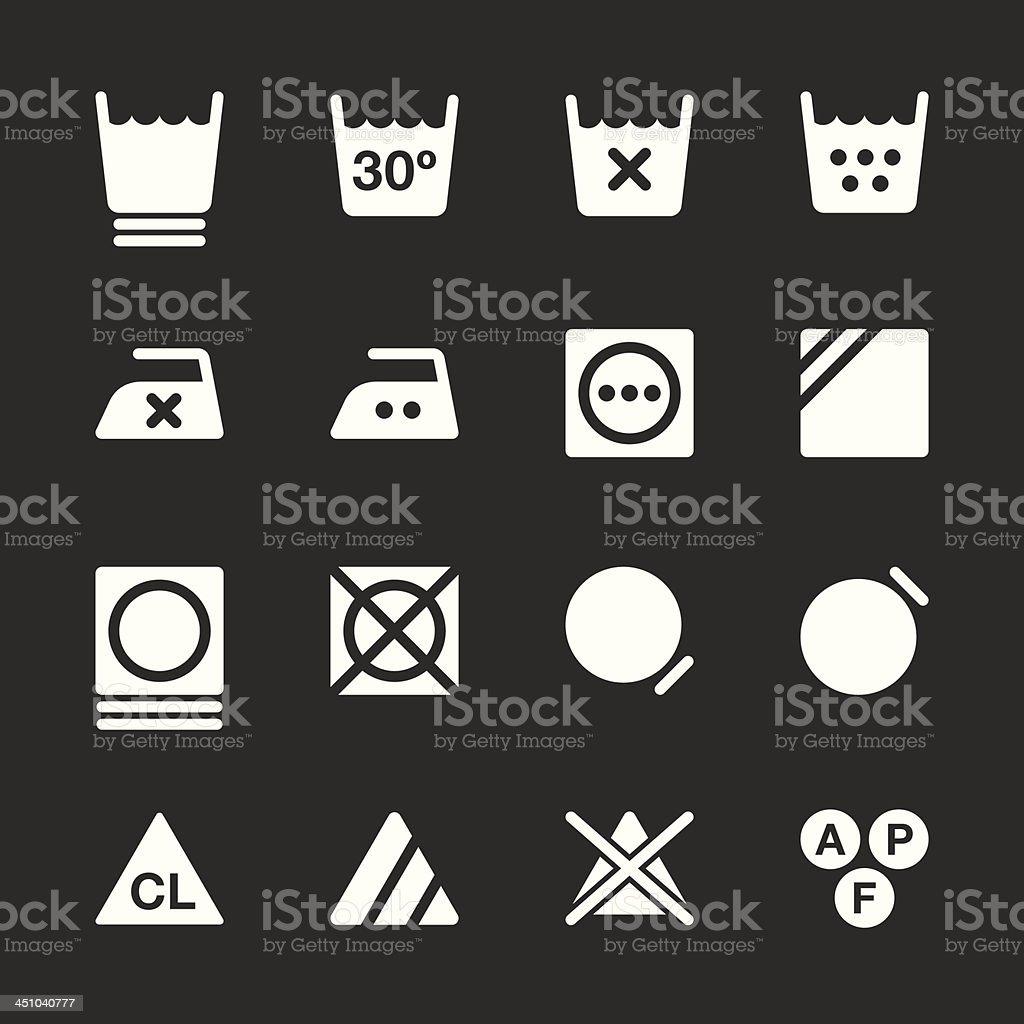 Laundry Sign Icons Set 3 - White Series   EPS10 vector art illustration