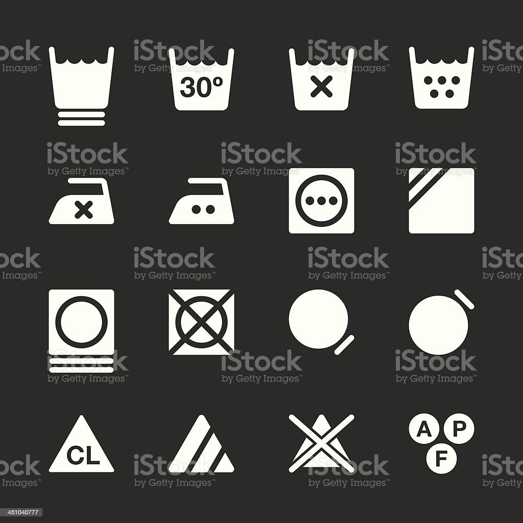 Laundry Sign Icons Set 3 - White Series | EPS10 vector art illustration