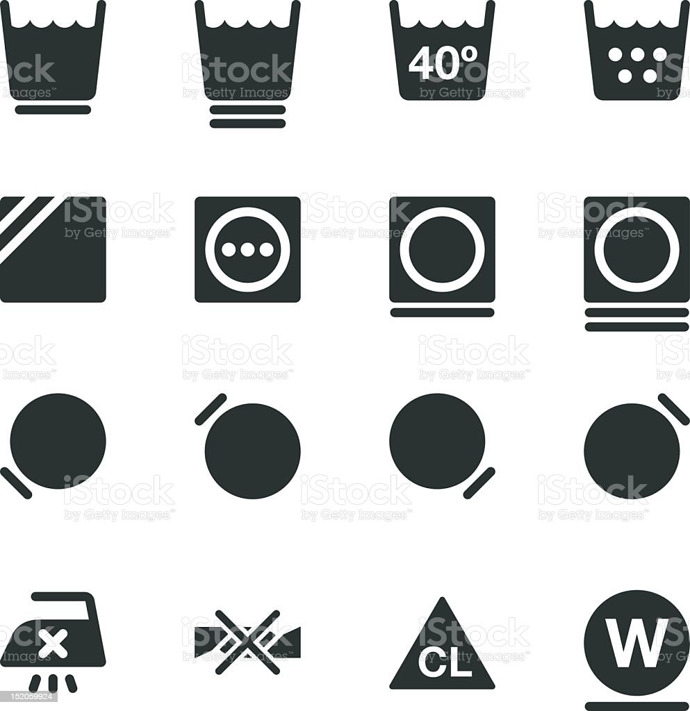Laundry Sign Silhouette Icons   Set 2 vector art illustration