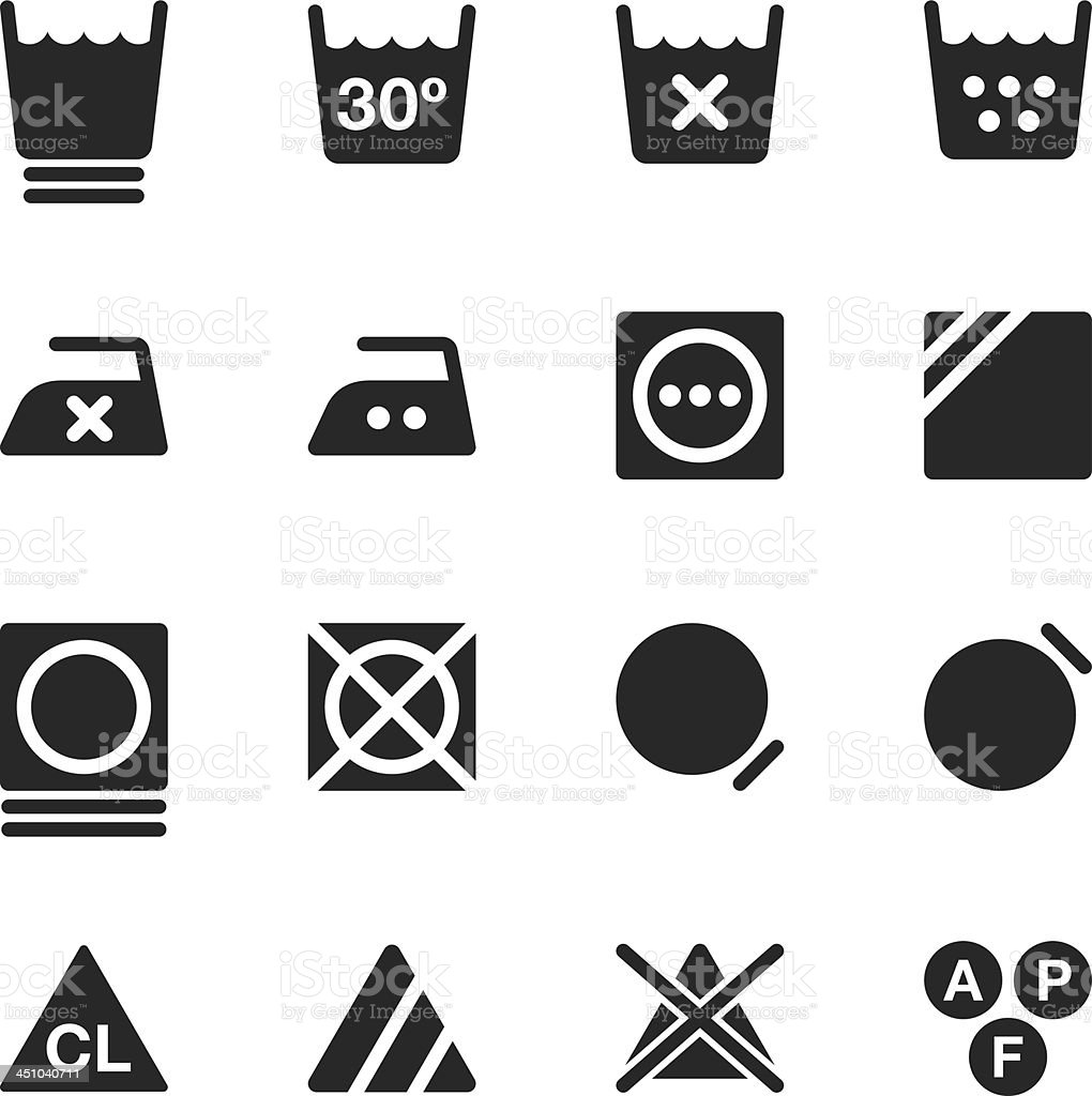 Laundry Sign Silhouette Icons   Set 3 vector art illustration