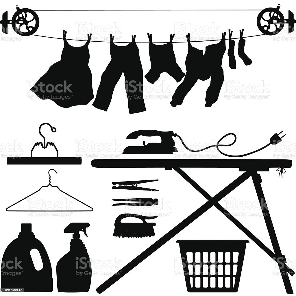 Laundry Silhouettes vector art illustration