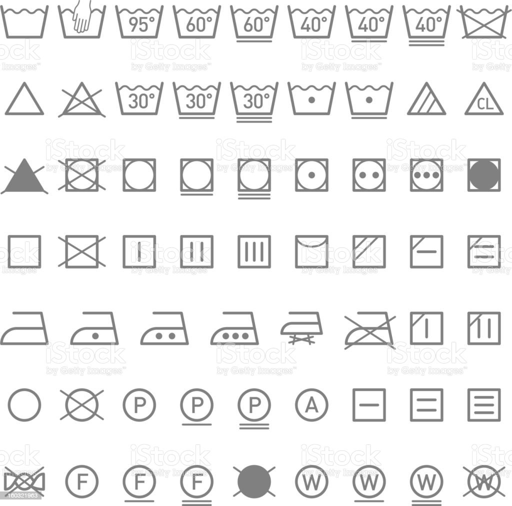 Laundry symbols vector art illustration