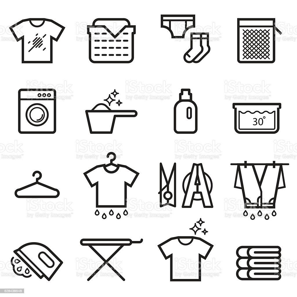 Laundry Thin Line Icons vector art illustration