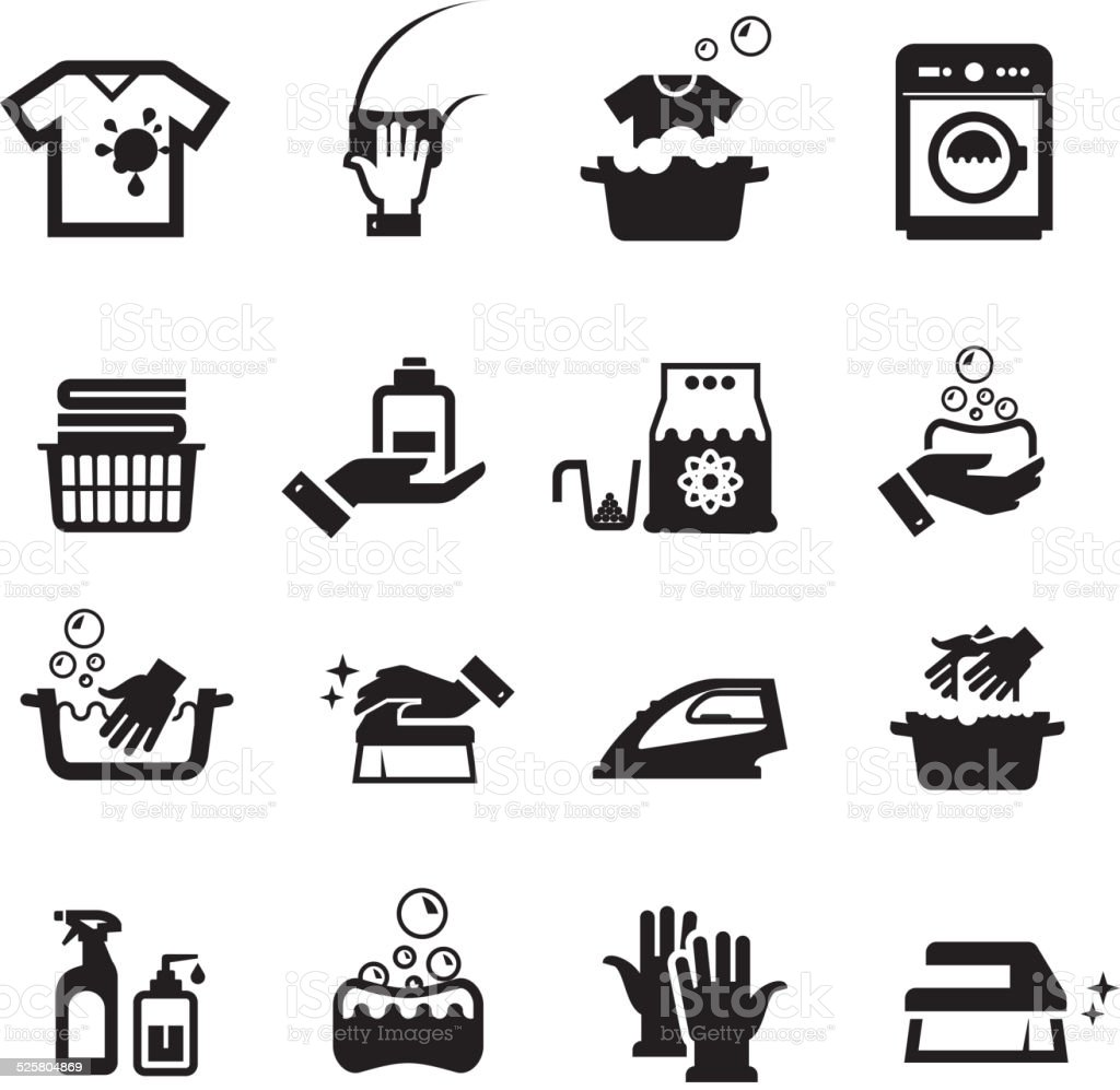 Laundry washing icons set vector art illustration
