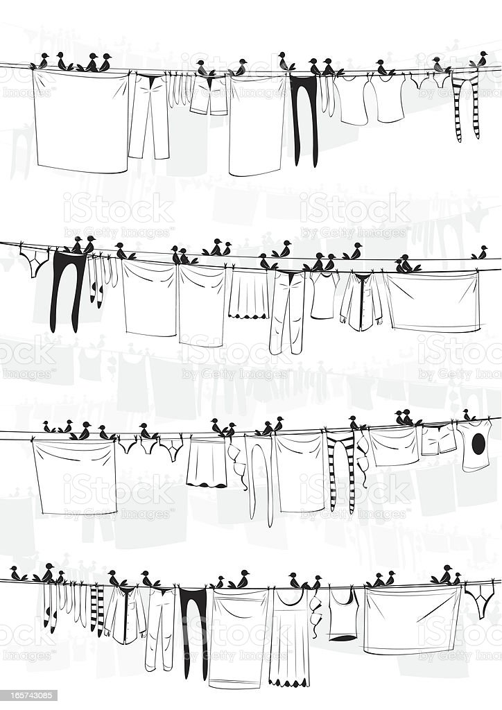 Laundry with Birds Background vector art illustration