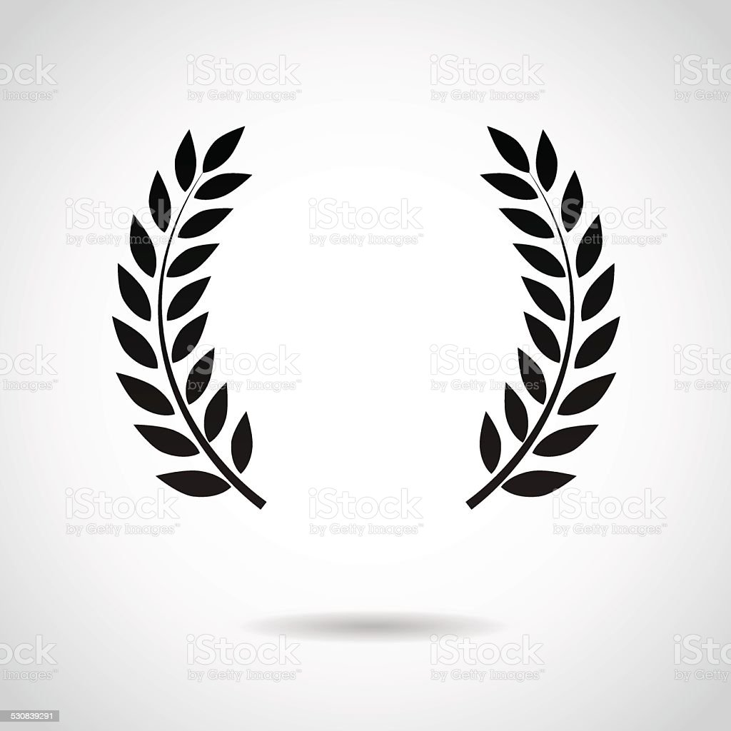 Laurel icon isolated on white background. vector art illustration