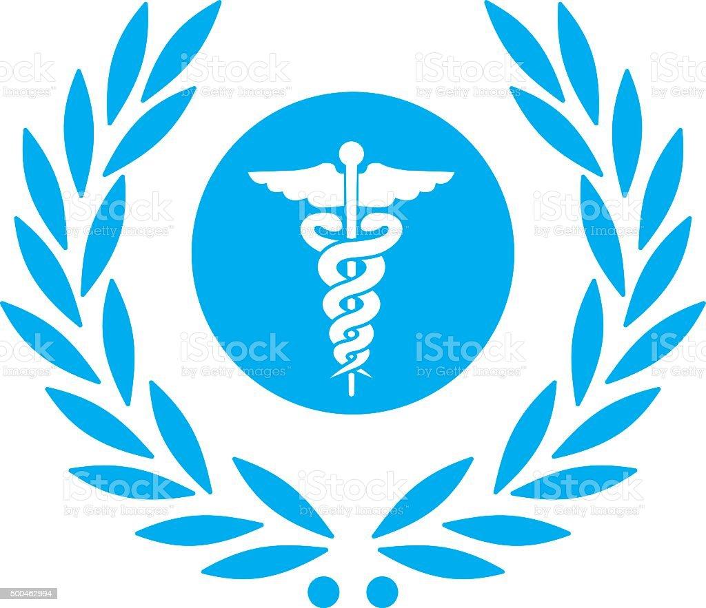 laurel with healthcare caduceus symbol vector art illustration