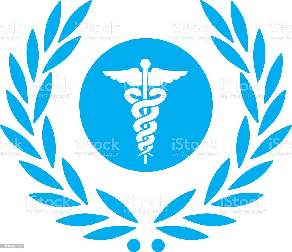 laurel with healthcare caduceus symbol vector art illustration