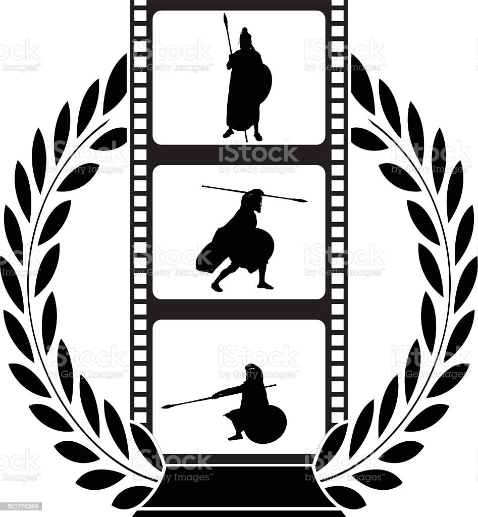 laurel wreath and film with warrior royalty-free stock vector art