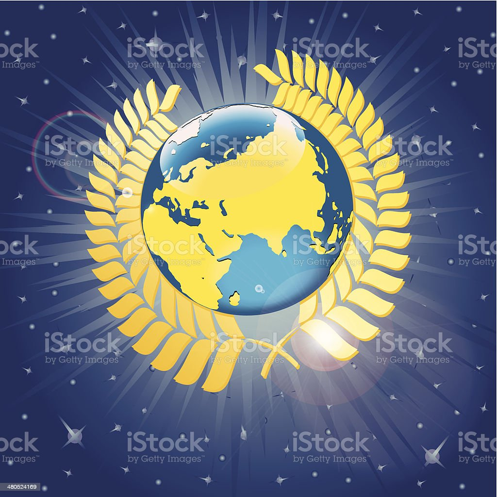 Laurel wreath around the planet earth. View from space. Vector vector art illustration