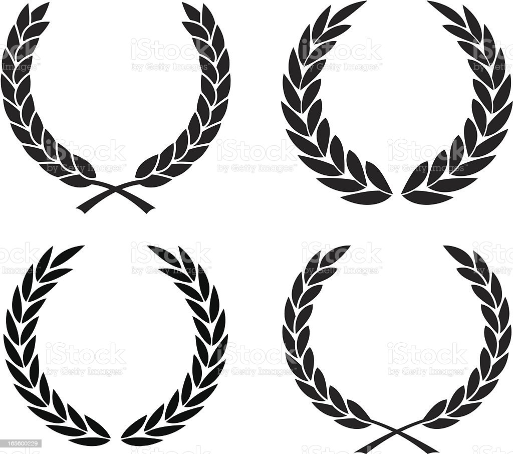 Laurel wreath assortment vector art illustration