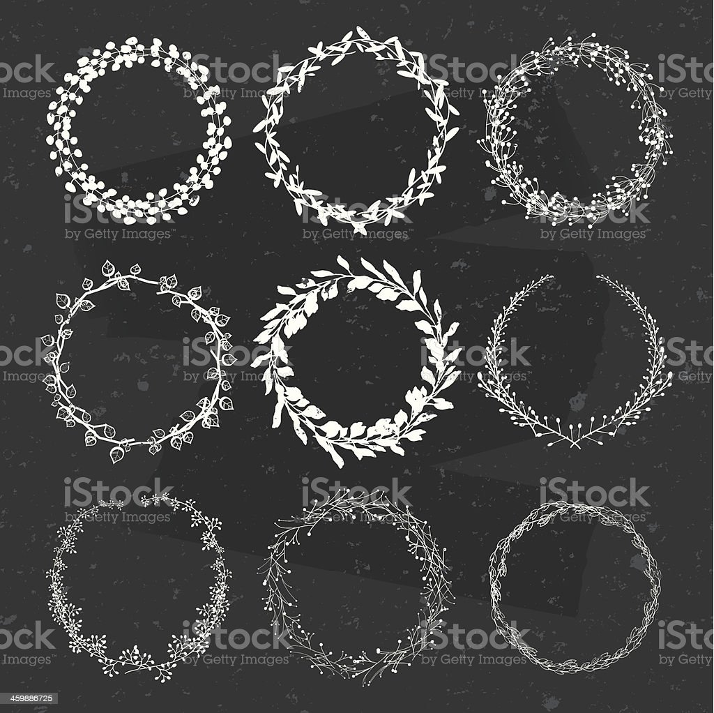 laurel wreath design collection on blackboard vector art illustration