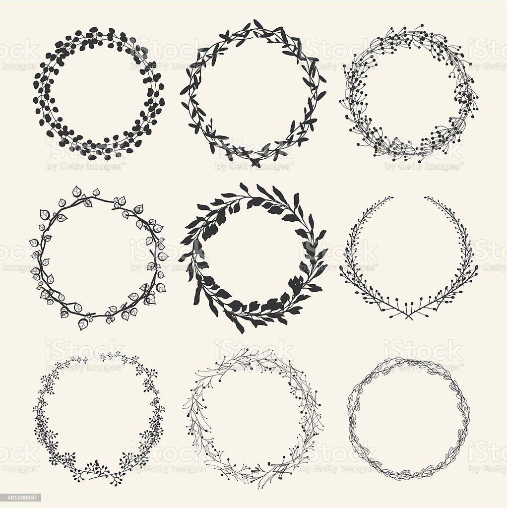 laurel wreath designs vector art illustration