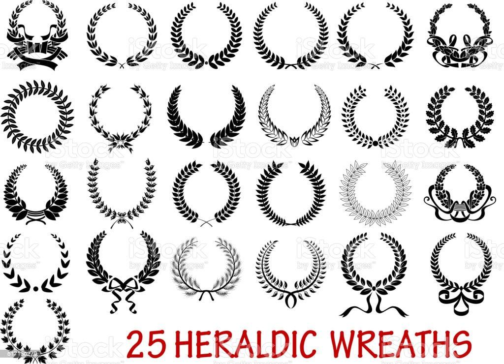 Laurel wreath heraldic set vector art illustration