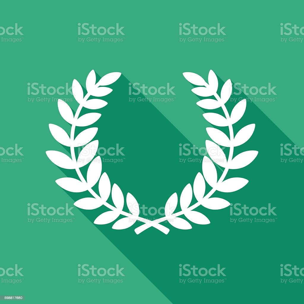 Laurel Wreath Icon White vector art illustration