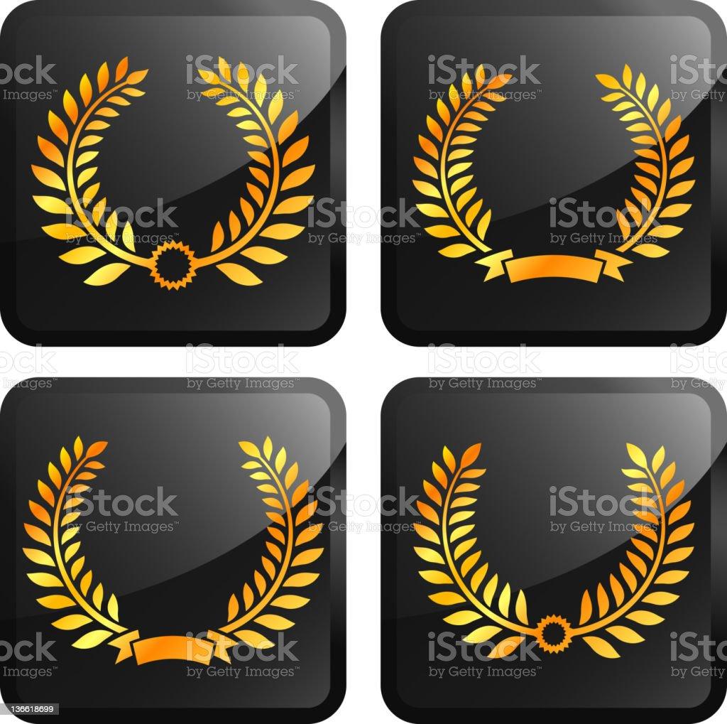 laurel wreath royalty-free vector arts golden vector icon set stickers vector art illustration