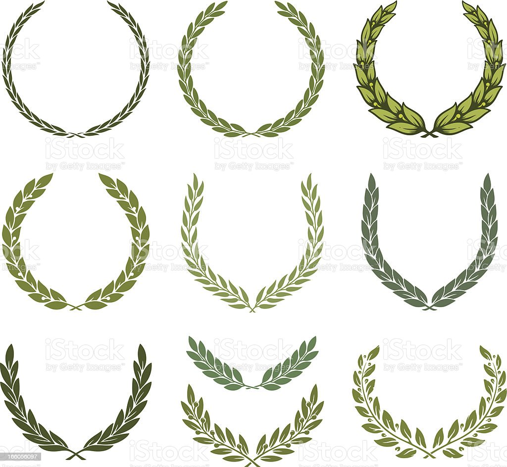 Laurel wreath set vector art illustration