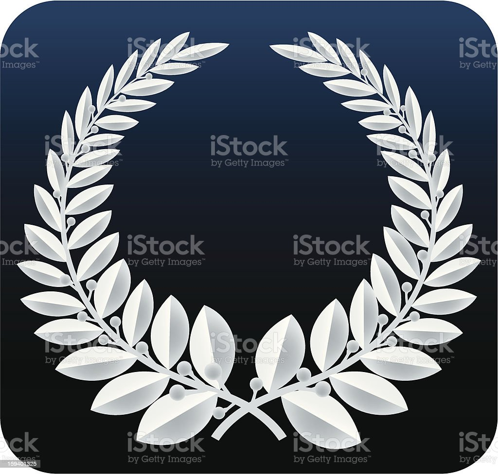 laurel wreath silver (vector) vector art illustration