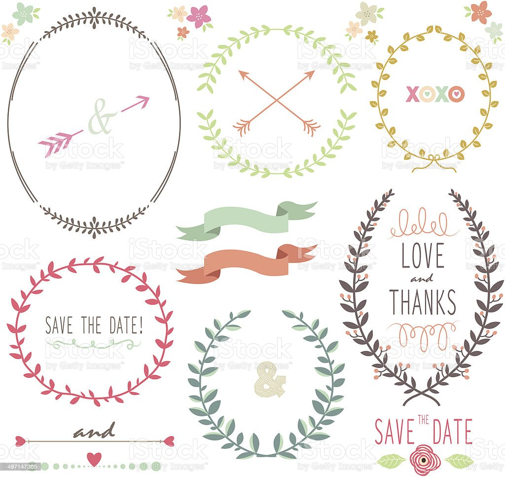 Laurel Wreath Wedding- illustration vector art illustration