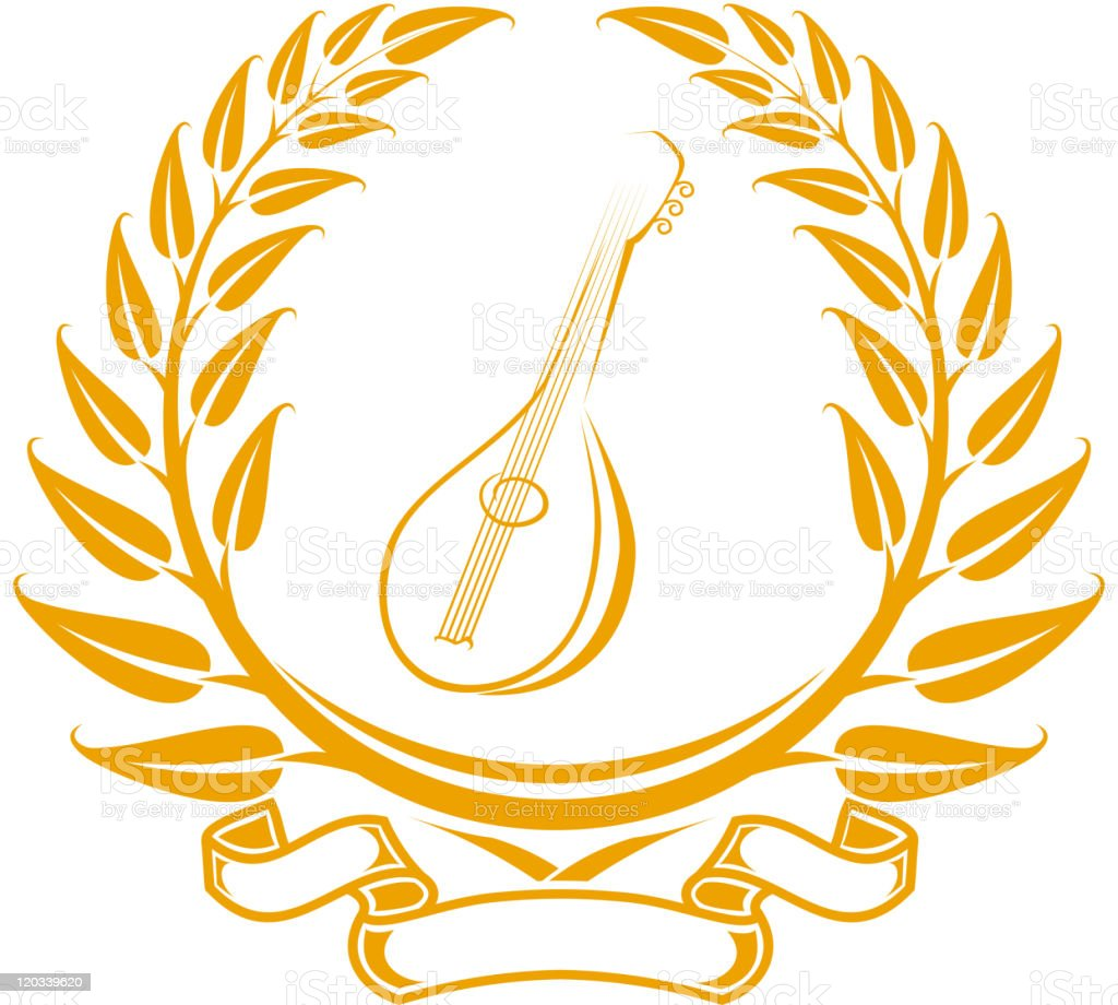 Laurel wreath with musical instrument royalty-free stock vector art