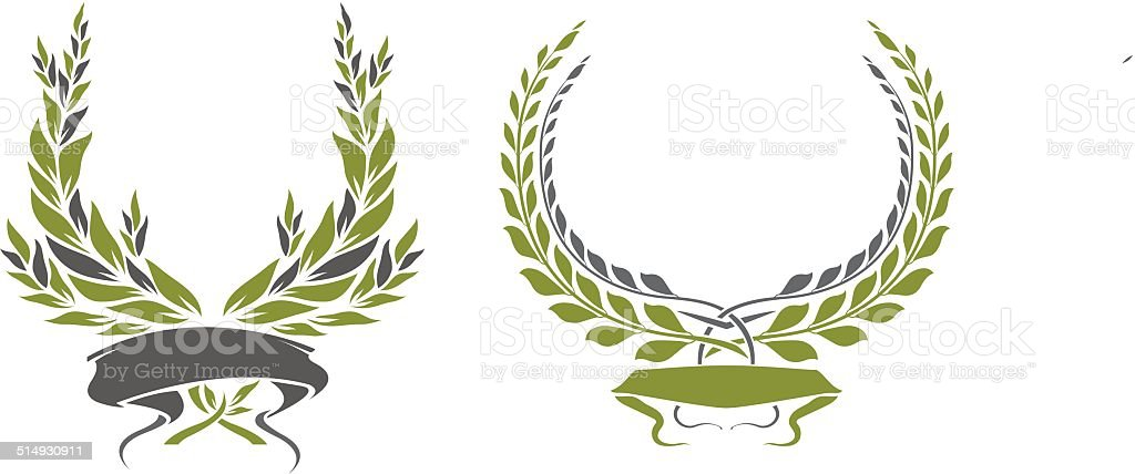 Laurel Wreath with ribbon vector art illustration