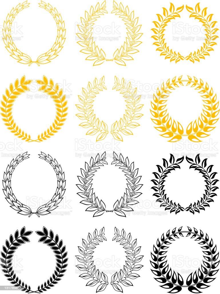 Laurel wreathes set royalty-free stock vector art