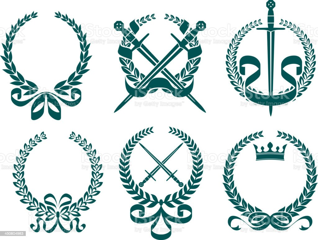 Laurel wreathes with heraldry elements royalty-free stock vector art