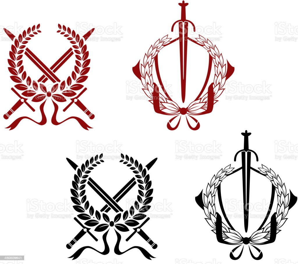 Laurel wreathes with swords and sabers royalty-free stock vector art