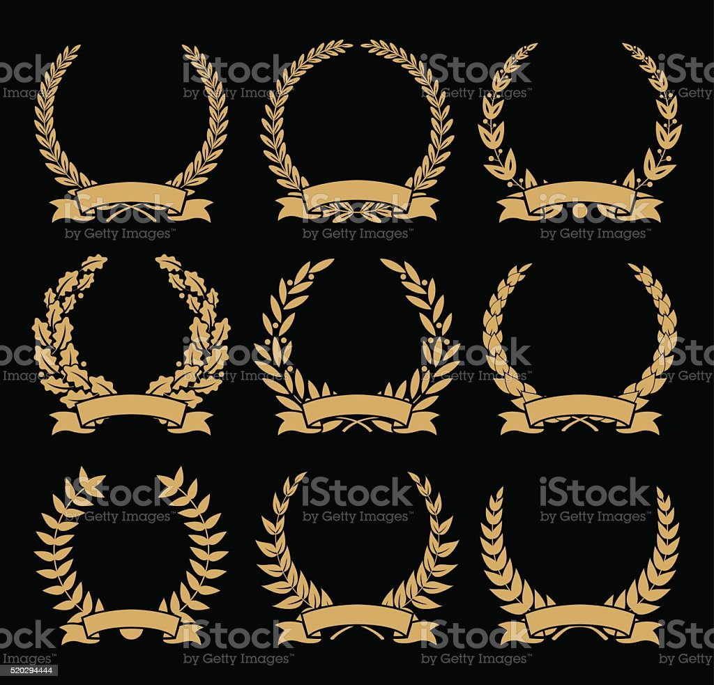 Laurel Wreaths and Ribbons Set - illustration vector art illustration