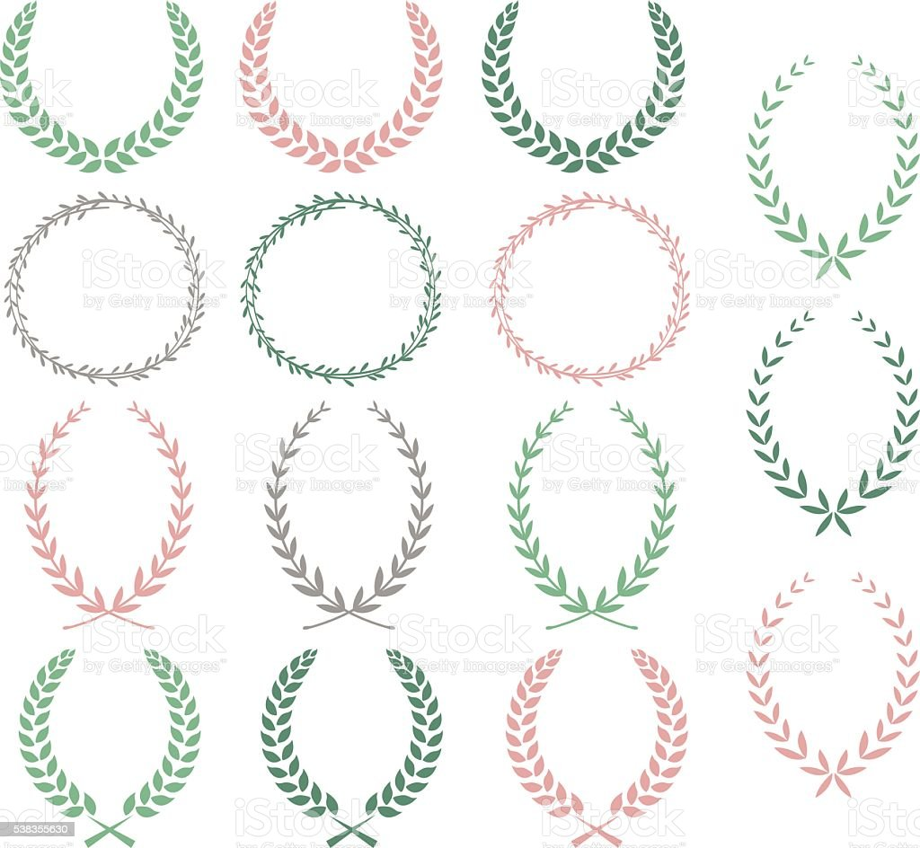 Laurel Wreaths Hand Drawn Laurel Wreaths Collections vector art illustration