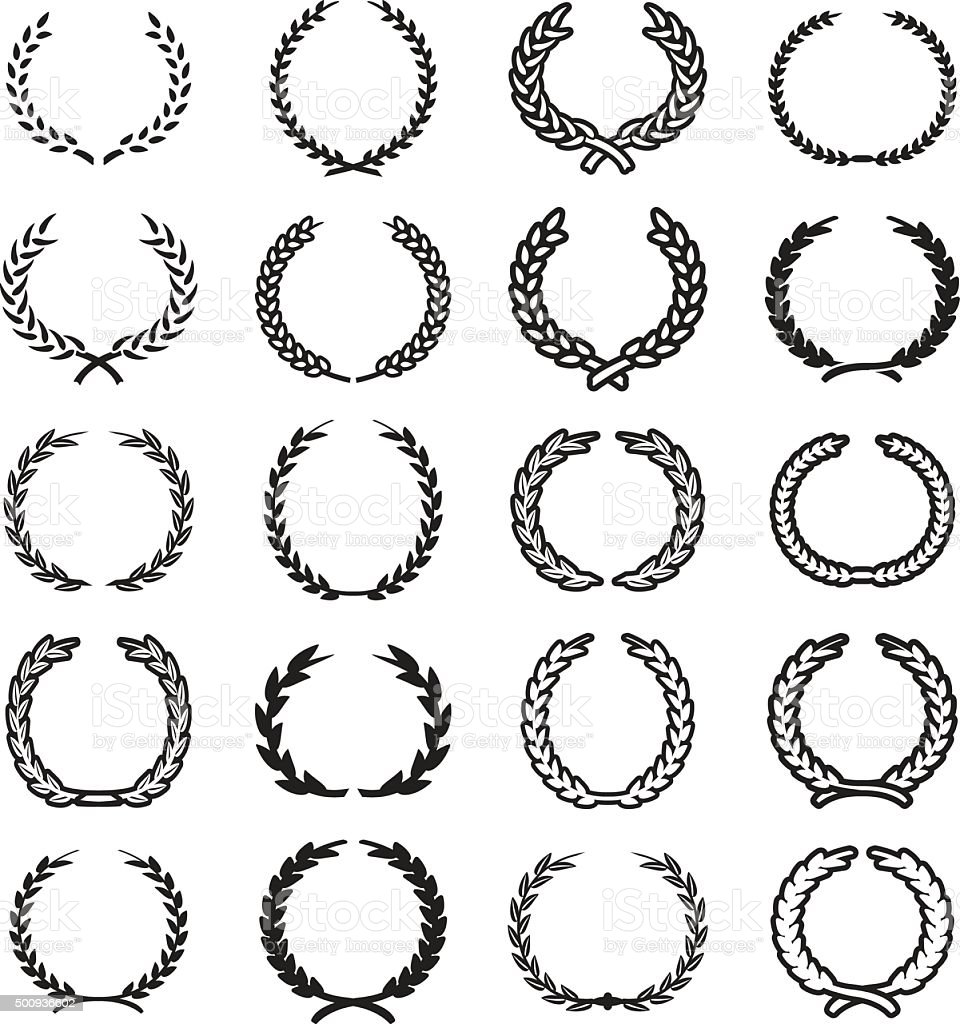 Laurel wreaths set. Vector eps 10. vector art illustration