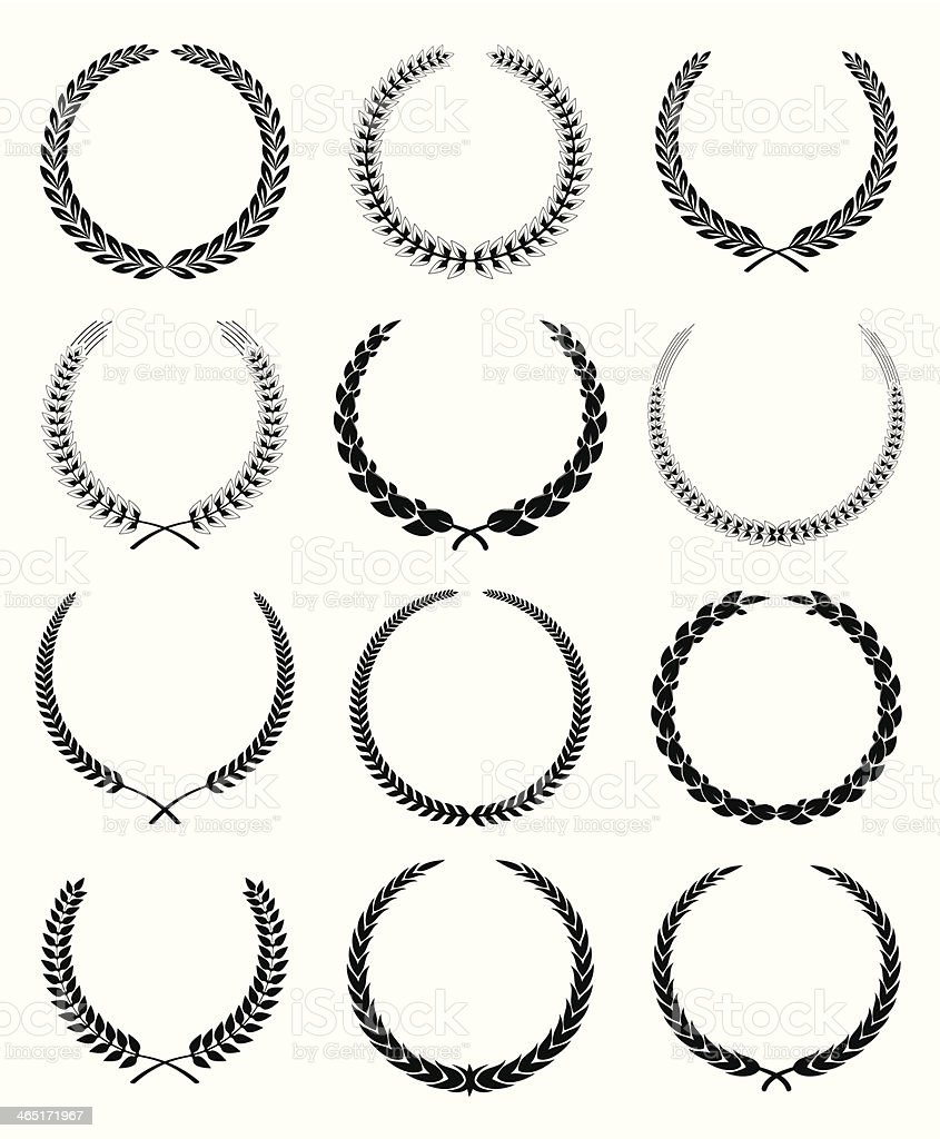 Laurel Wreaths vector art illustration