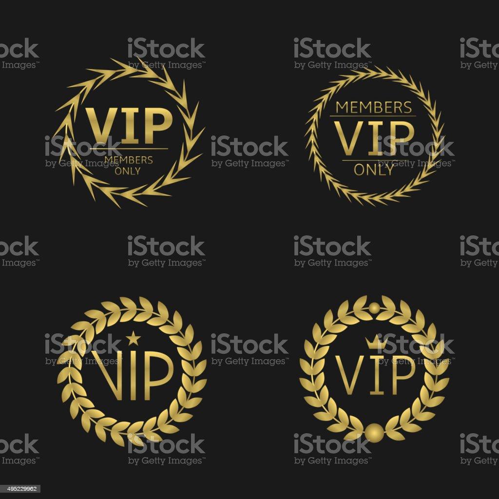VIP Laurel wreaths vector art illustration
