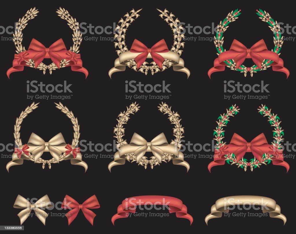 Laurel Wreaths With Bows royalty-free stock vector art