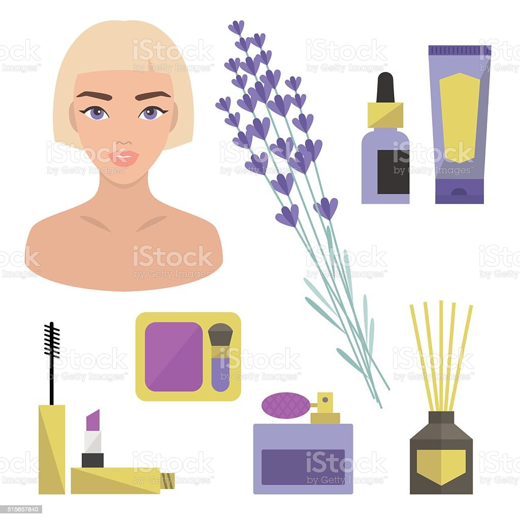 Lavender beauty set vector art illustration