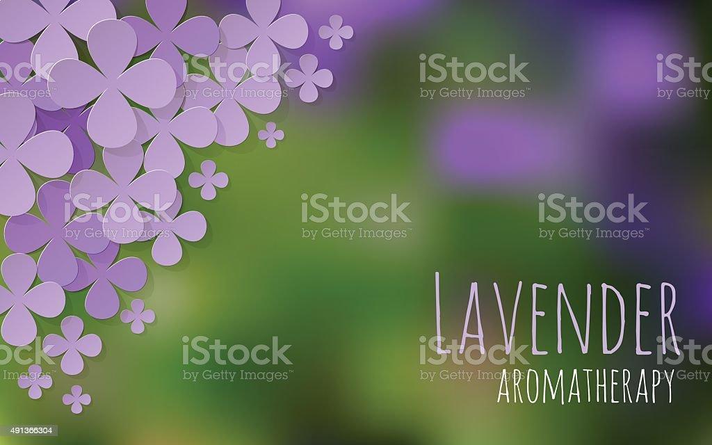 Lavender field aromatherapy postcard bokeh background vector horizontal. vector art illustration