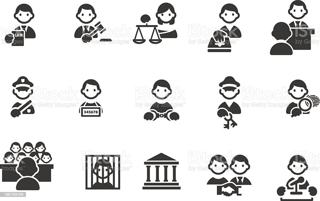 Law and Crime icons vector art illustration