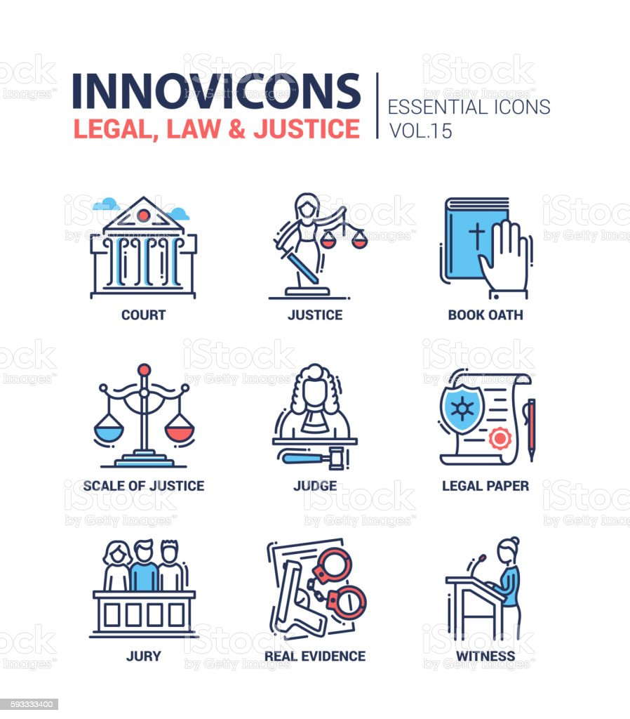 Law and Justice - flat design icons set vector art illustration