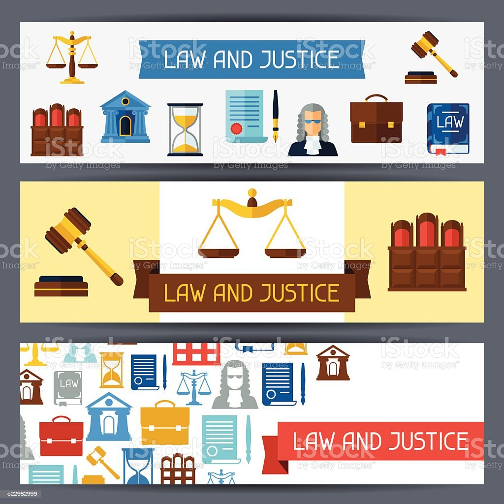 Law and justice horizontal banners in flat design style. vector art illustration